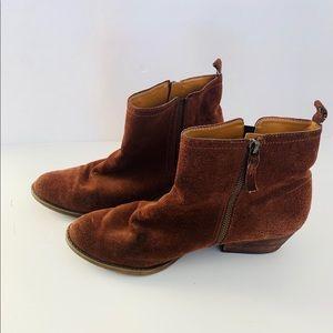nine west vintage america brown suede zip booties